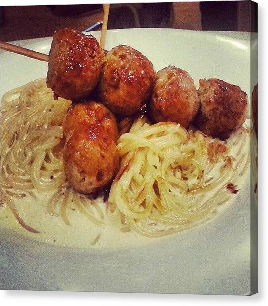 Spaghetti Canvas Print - #chicken #meatballs #spaghetti @jujumoni by Sharon Chia