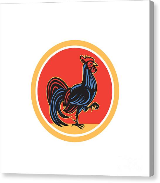 Chicken Rooster Marching Walking Circle Retro Canvas Print by Aloysius Patrimonio