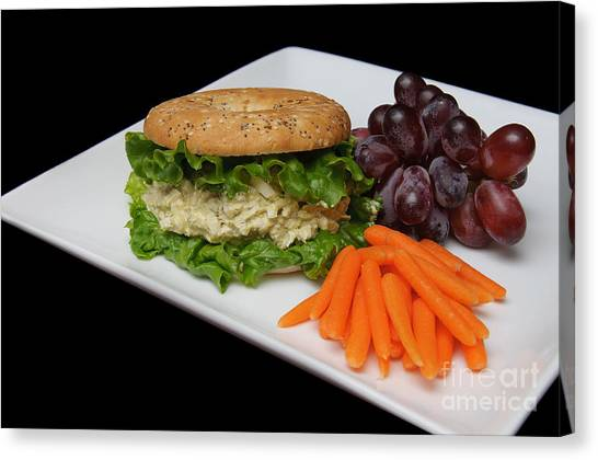 Mayonnaise Canvas Print - Chicken Salad Sandwich - Red Grapes - Baby Carrots - Deli by Andee Design