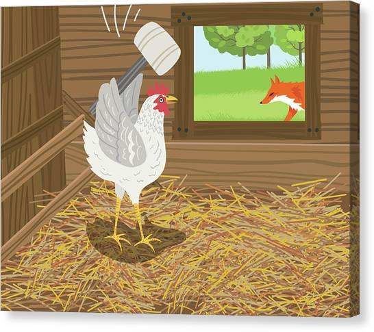 Chicken With A Mallet Waits For  A Fox Canvas Print by Diane Labombarbe