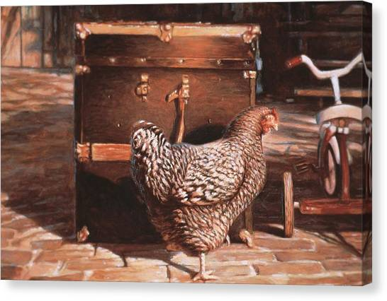Chicken With Trunk Canvas Print