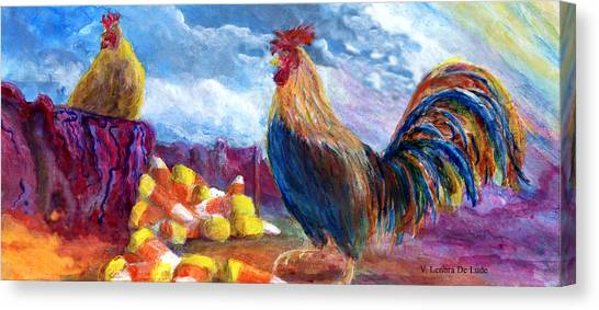 Chickens And Candy Corn Canvas Print