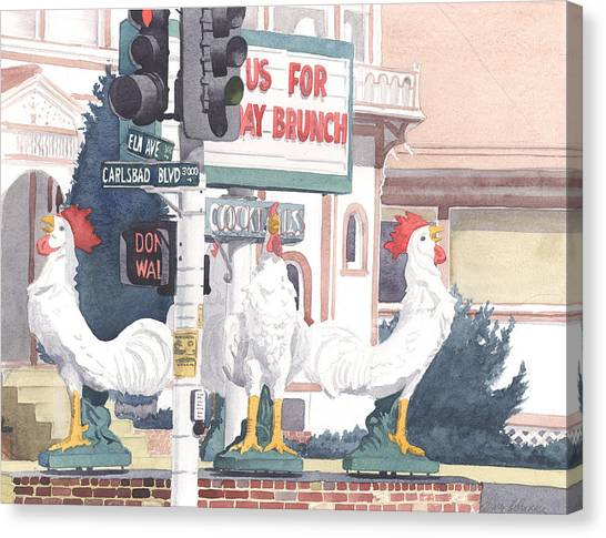Traffic Canvas Print - Chickens At Twin Inns Carlsbad by Mary Helmreich