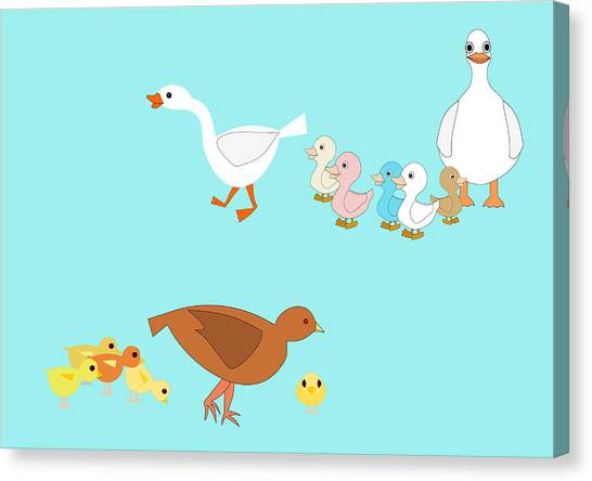 Chicks And Ducks Canvas Print