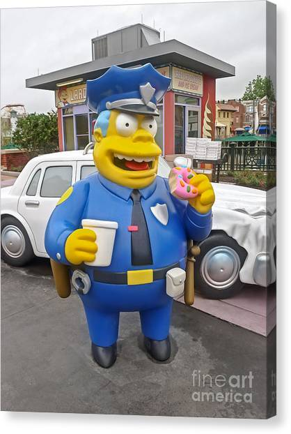 Doughnuts Canvas Print - Chief Clancy Wiggum From The Simpsons by Edward Fielding