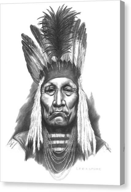 Indian Canvas Print - Chief Curly Bear by Lee Updike