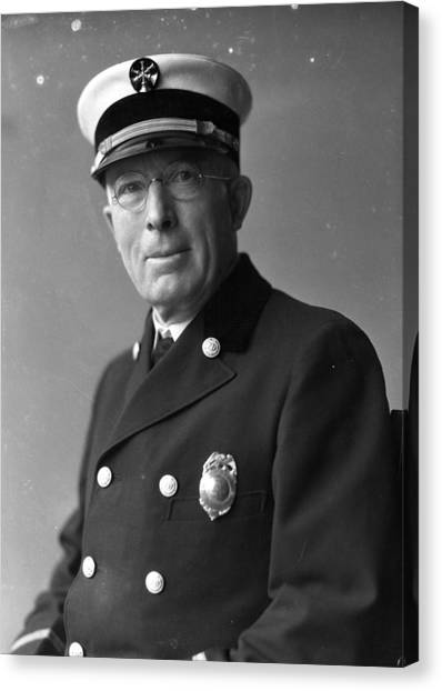 Chicago Fire Canvas Print - Chief John C. Mcdonnell Century Of Progress Fire Department Chicago  by Retro Images Archive