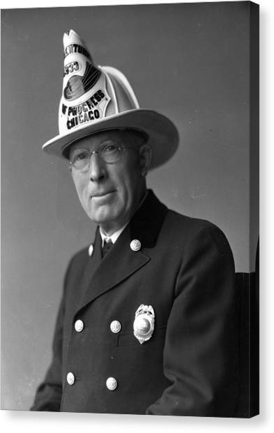 Chicago Fire Canvas Print - Chief John C. Mcdonnell Century Of Progress Fireman by Retro Images Archive