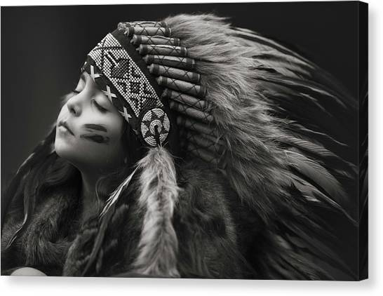Native Americans Canvas Print - Chief Of Her Dreams by Carmit Rozenzvig