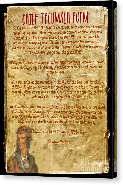 Chief Tecumseh Poem - Live Your Life Canvas Print