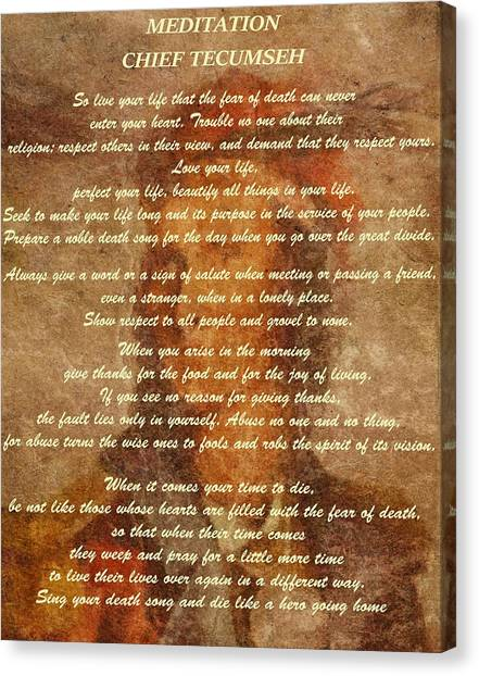 Chief Tecumseh Poem Canvas Print