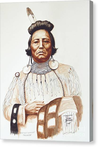 Chief Wolf Necklace Canvas Print