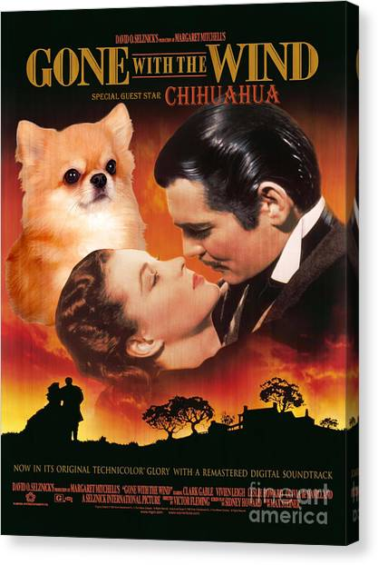 Gone With The Wind Canvas Print - Chihuahua Art - Gone With The Wind Movie Poster by Sandra Sij