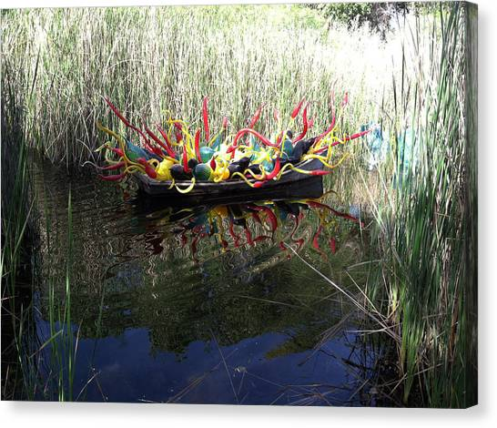 Chihuly Glass In Boat Canvas Print by Jack Edson Adams