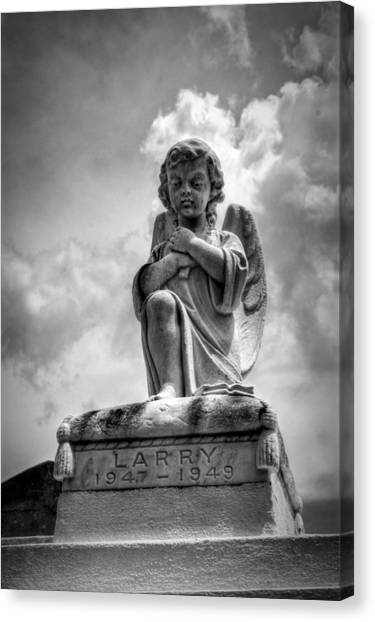 Child Angel In Black And White Canvas Print