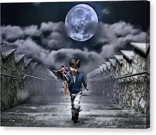 Boy Canvas Print - Child Of The Moon by Joachim G Pinkawa