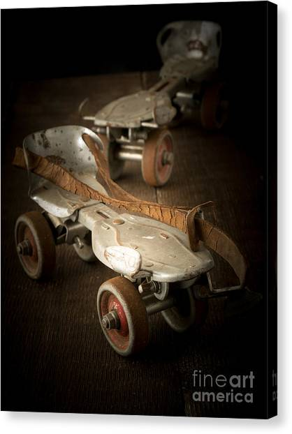 Roller Skating Canvas Print - Childhood Memories by Edward Fielding