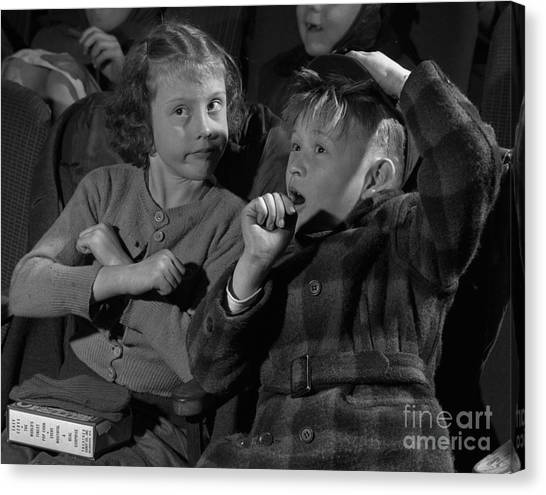 Popcorn Canvas Print - Children At A Film Matinee In 1946 by The Harrington Collection