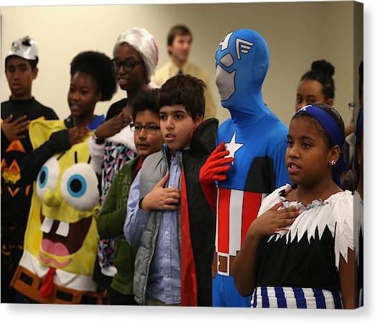 Children Attend Halloween-themed U.s. Citizenship Ceremony In Baltimore Canvas Print by Mark Wilson