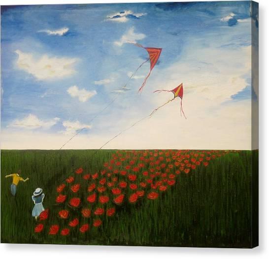 Children Flying Kites Canvas Print by Rejeena Niaz
