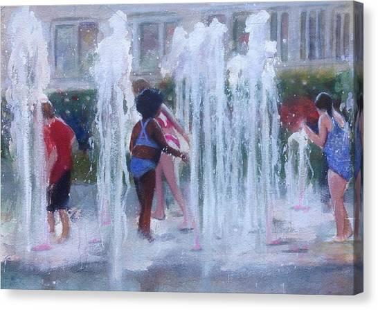 Children In Fountains Canvas Print