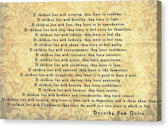 Teach Your Children Canvas Print - Children Learn What They Live by Dan Sproul