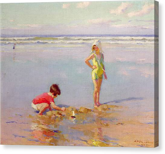 Sand Castles Canvas Print - Children On The Beach by Charles-Garabed Atamian