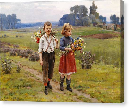 Rolling Hills Canvas Print - Children On The Way Home by Cesar Pattein