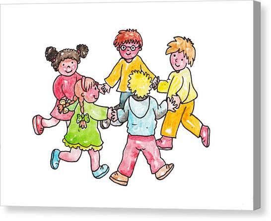 Fun Run Canvas Print - Children Play In A Circle by Mattia Masciullo