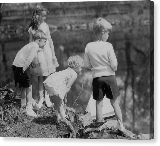 Flannel Canvas Print - Children Playing Beside A Pond by Edward Steichen