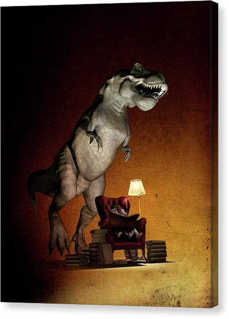 Tyrannosaurus Canvas Print - Children Reading About Dinosaurs by Mikkel Juul Jensen