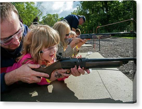 Boy Scouts Canvas Print - Children Shooting Bb Guns by Jim West