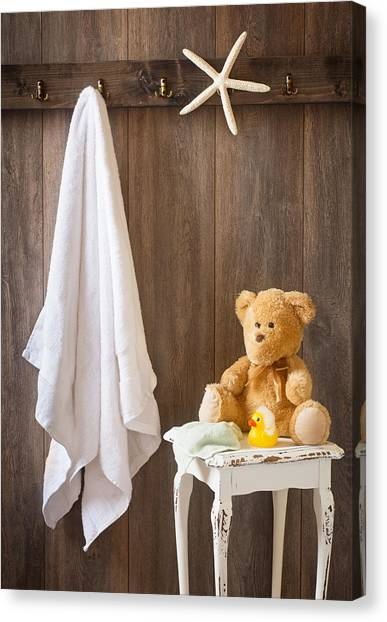 Teddybear Canvas Print - Childrens Bathroom by Amanda Elwell