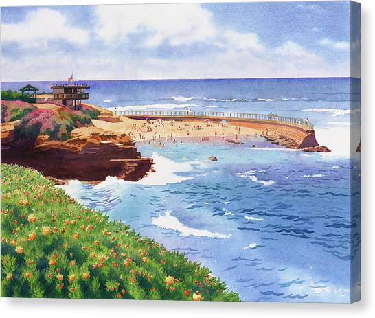 Lifeguard Canvas Print - Children's Pool In La Jolla by Mary Helmreich
