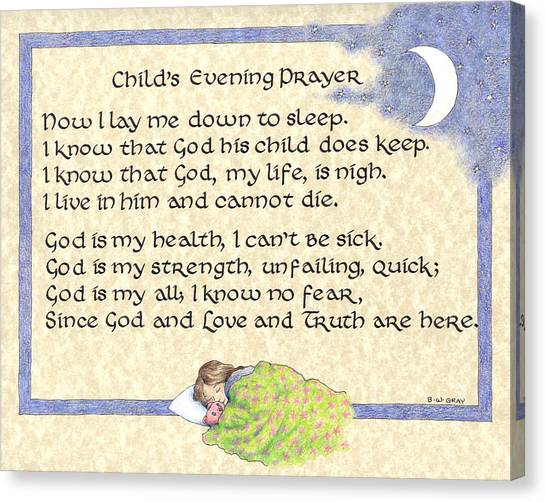Child's Evening Prayer Canvas Print