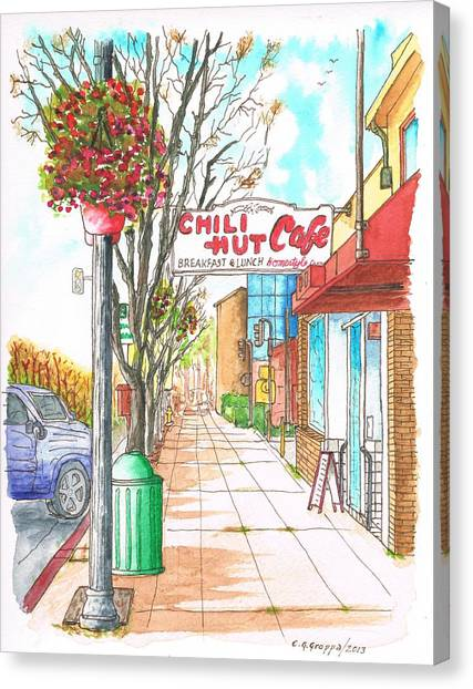 Chili Hut Cafe In Main Street, Santa Paula, California Canvas Print