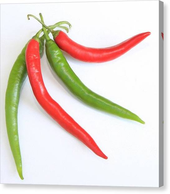 Pepper Canvas Print - #chili #peppers #hot #yummy #food by Angela Bruno