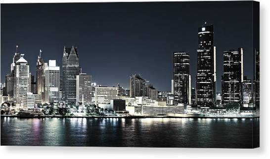 Chilled Detroit Skyline  Canvas Print