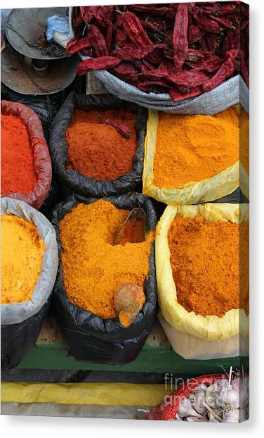 Market Canvas Print - Chilli Powders 3 by James Brunker