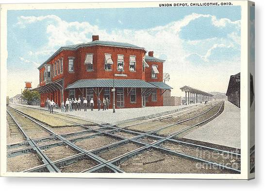 Chillicothe Ohio Railroad Depot Postcard Canvas Print