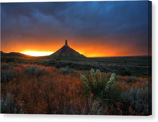 Nebraska Canvas Print - Chimney Rock Sunset by Chris Allington