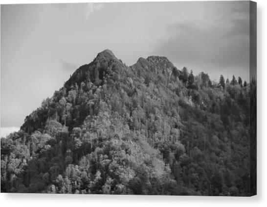 Chimney Tops Canvas Print - Chimney Tops In The Smokies Black And White by Dan Sproul