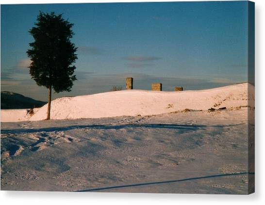 Chimneys And Tree Canvas Print by David Fiske