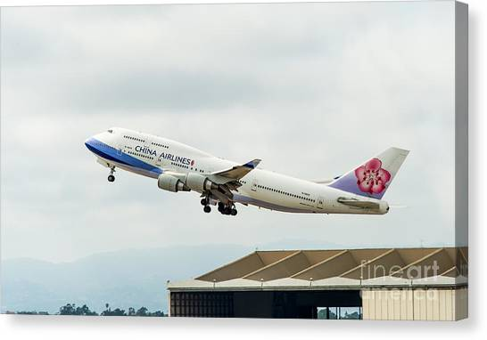 China Arlines 747 Lifts Off From Lax Canvas Print