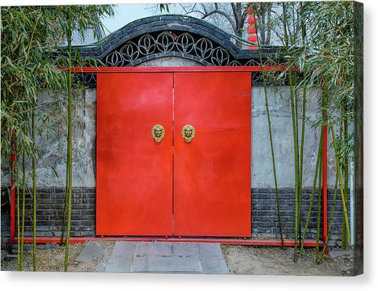China Town Canvas Print - China, Beijing, Large Red Door Entry by Terry Eggers