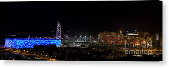 China Beijing Panorama Water Cube And Birds Nest Stadiums Canvas Print