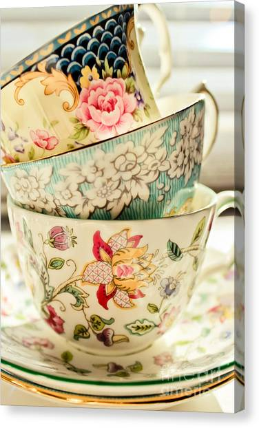 Tea Canvas Print - China Cups by Colleen Kammerer