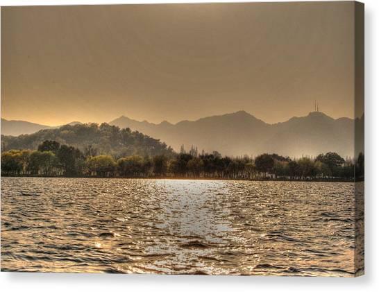 China Lake Sunset Canvas Print