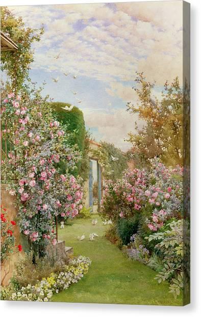 Border Wall Canvas Print - China Roses by Alfred Parsons