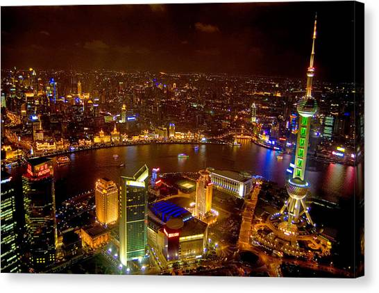 Multi Canvas Print - China Shanghai At Night  by Anonymous
